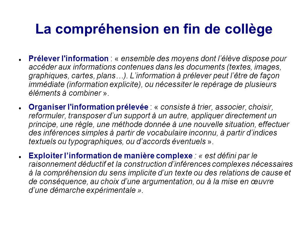 La compréhension en fin de collège Groupe 0 (4 %) : au vu des résultats de l'évaluation, les élèves du groupe 0 ne répondent que ponctuellement à des items dont les compétences sont relatives au prélèvement d'information.