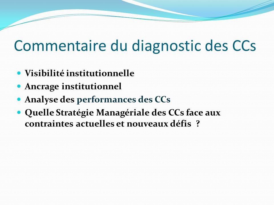 Commentaire du diagnostic des CCs Visibilité institutionnelle Ancrage institutionnel Analyse des performances des CCs Quelle Stratégie Managériale des