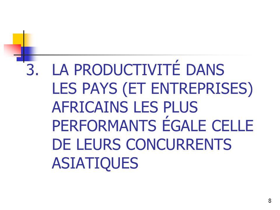 8 3.LA PRODUCTIVITÉ DANS LES PAYS (ET ENTREPRISES) AFRICAINS LES PLUS PERFORMANTS ÉGALE CELLE DE LEURS CONCURRENTS ASIATIQUES