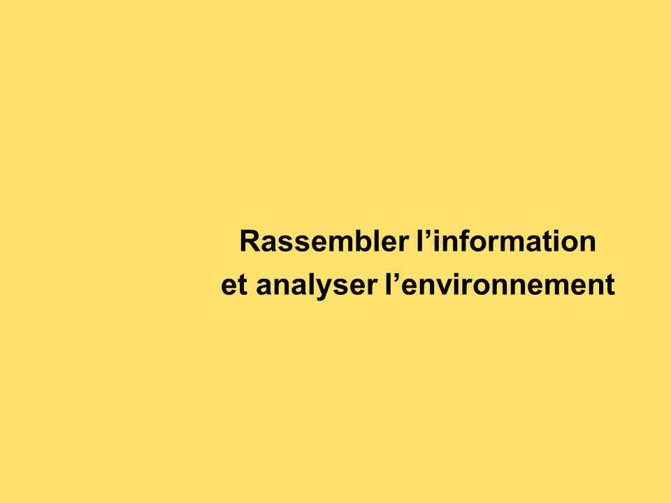 Rassembler l'information et analyser l'environnement