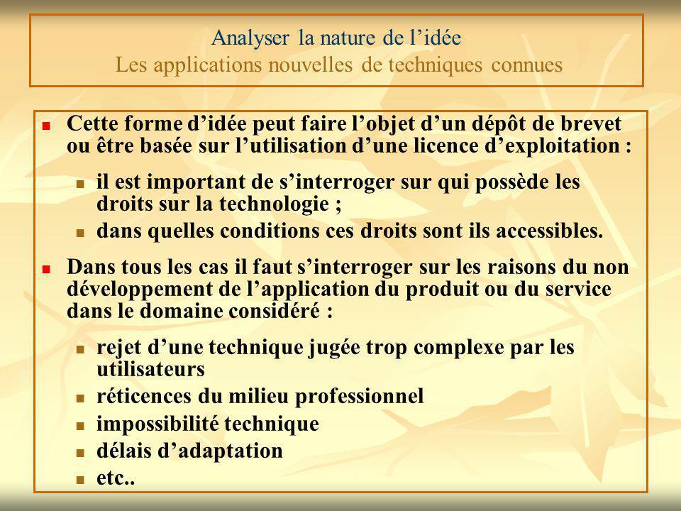 Analyser la nature de l'idée Les applications nouvelles de techniques connues Cette forme d'idée peut faire l'objet d'un dépôt de brevet ou être basée