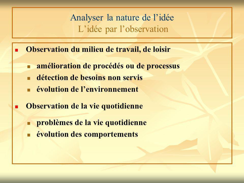 Analyser la nature de l'idée L'idée par l'observation Observation du milieu de travail, de loisir amélioration de procédés ou de processus détection d
