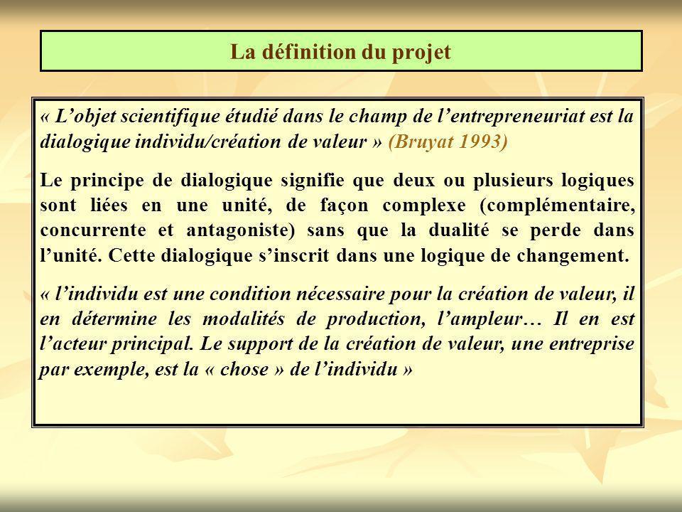 La définition du projet « L'objet scientifique étudié dans le champ de l'entrepreneuriat est la dialogique individu/création de valeur » (Bruyat 1993) Le principe de dialogique signifie que deux ou plusieurs logiques sont liées en une unité, de façon complexe (complémentaire, concurrente et antagoniste) sans que la dualité se perde dans l'unité.