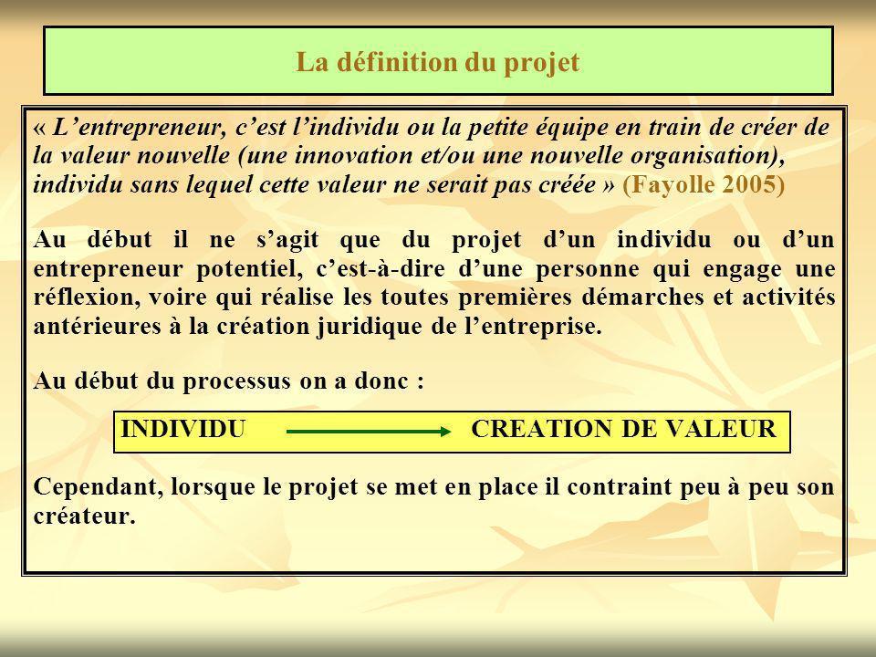 « L'entrepreneur, c'est l'individu ou la petite équipe en train de créer de la valeur nouvelle (une innovation et/ou une nouvelle organisation), indiv