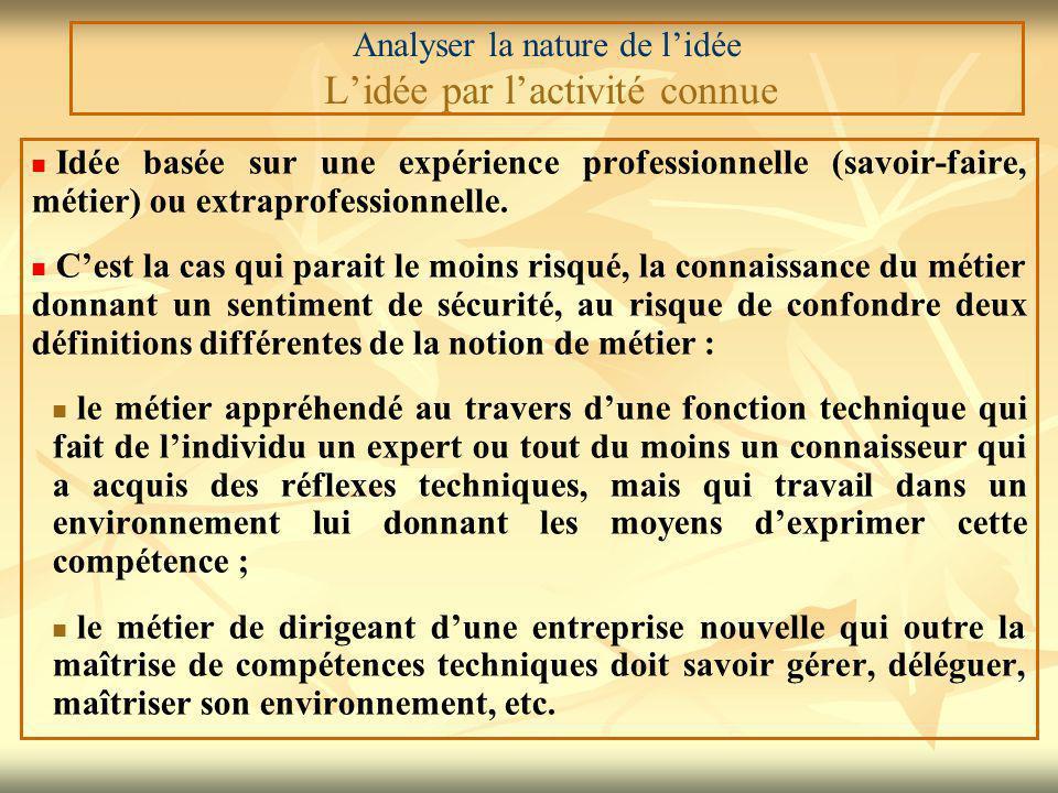 Analyser la nature de l'idée L'idée par l'activité connue Idée basée sur une expérience professionnelle (savoir-faire, métier) ou extraprofessionnelle