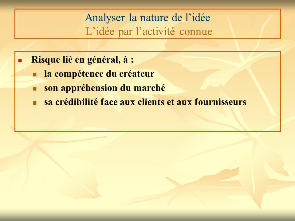 Analyser la nature de l'idée L'idée par l'activité connue Risque lié en général, à : la compétence du créateur son appréhension du marché sa crédibilité face aux clients et aux fournisseurs