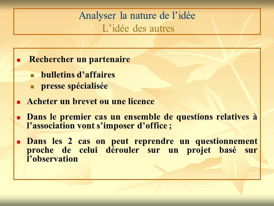 Analyser la nature de l'idée L'idée des autres Rechercher un partenaire bulletins d'affaires presse spécialisée Acheter un brevet ou une licence Dans