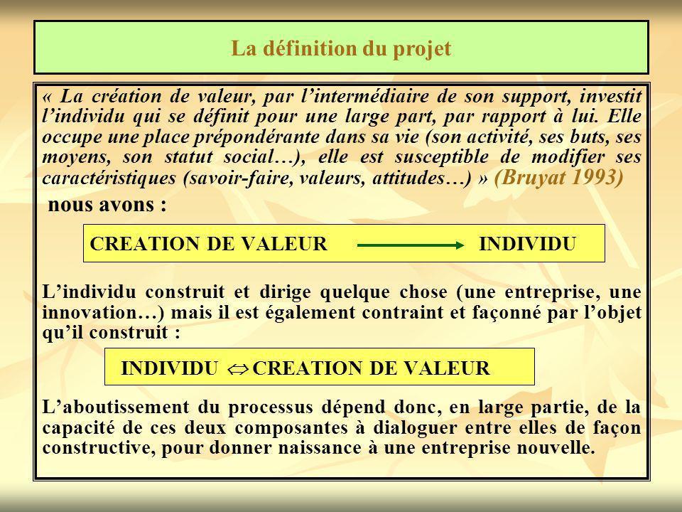 « La création de valeur, par l'intermédiaire de son support, investit l'individu qui se définit pour une large part, par rapport à lui.