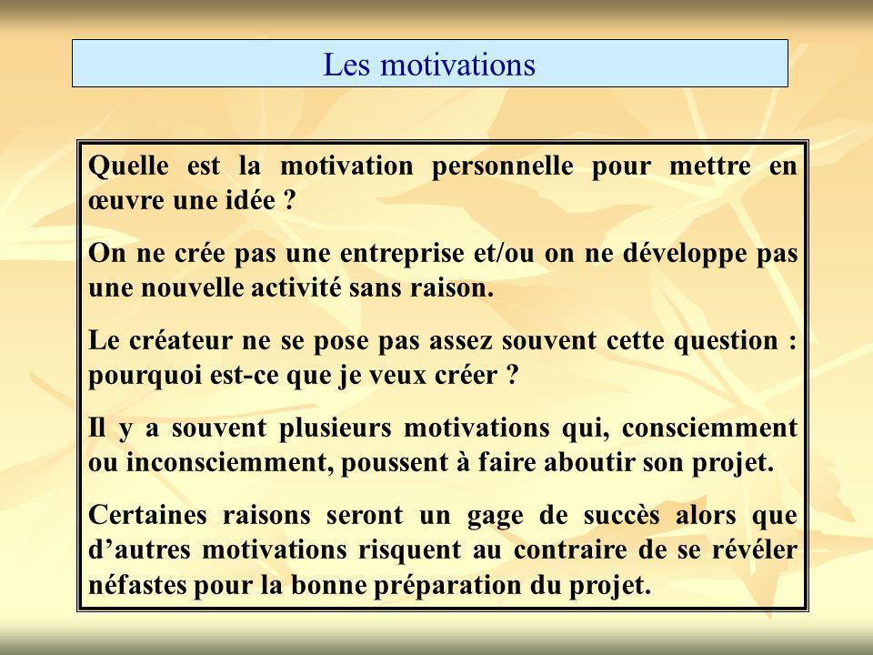 Les motivations Quelle est la motivation personnelle pour mettre en œuvre une idée ? On ne crée pas une entreprise et/ou on ne développe pas une nouve