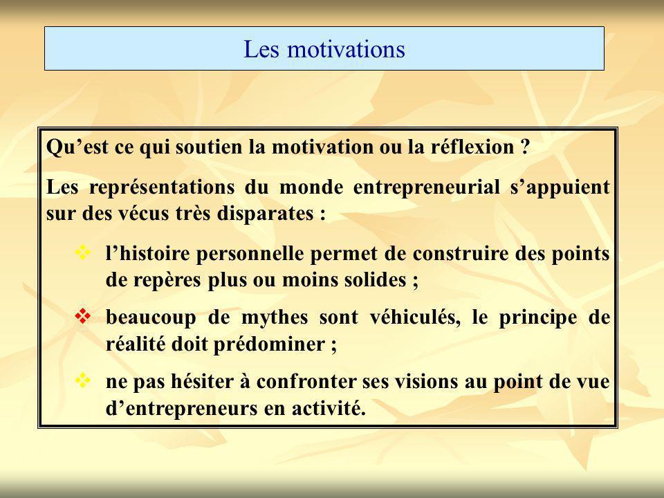 Les motivations Qu'est ce qui soutien la motivation ou la réflexion ? Les représentations du monde entrepreneurial s'appuient sur des vécus très dispa