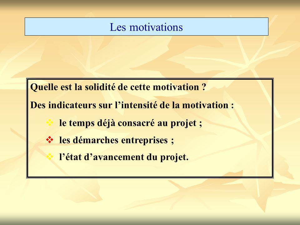 Les motivations Quelle est la solidité de cette motivation ? Des indicateurs sur l'intensité de la motivation :  le temps déjà consacré au projet ; 