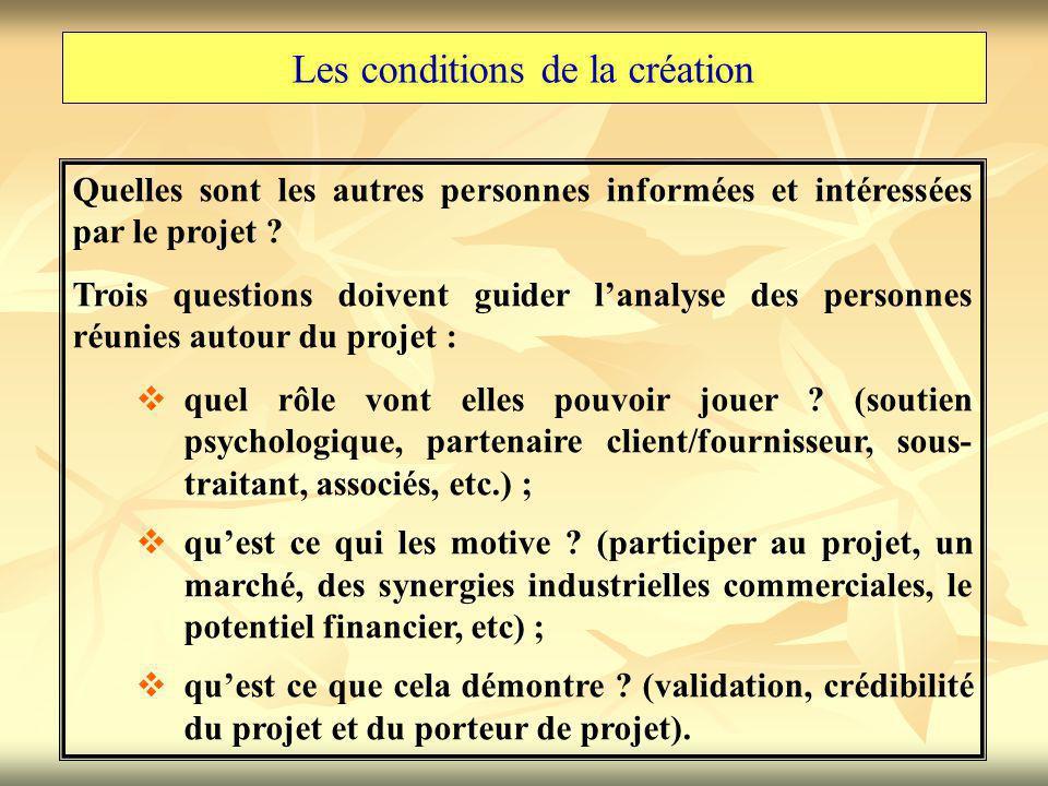 Les conditions de la création Quelles sont les autres personnes informées et intéressées par le projet ? Trois questions doivent guider l'analyse des
