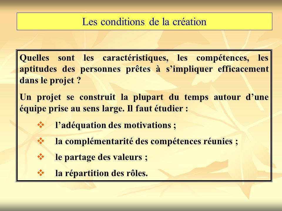 Les conditions de la création Quelles sont les caractéristiques, les compétences, les aptitudes des personnes prêtes à s'impliquer efficacement dans le projet .