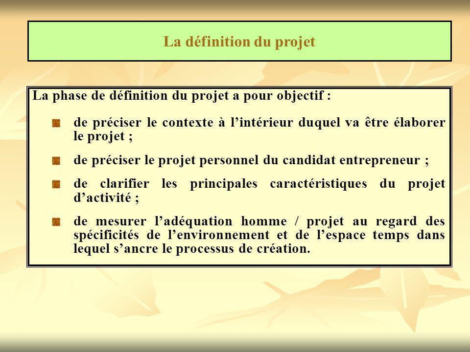 La phase de définition du projet a pour objectif : de préciser le contexte à l'intérieur duquel va être élaborer le projet ; de préciser le projet per