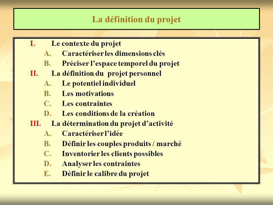 I. I.Le contexte du projet A. A.Caractériser les dimensions clés B. B.Préciser l'espace temporel du projet II. II.La définition du projet personnel A.