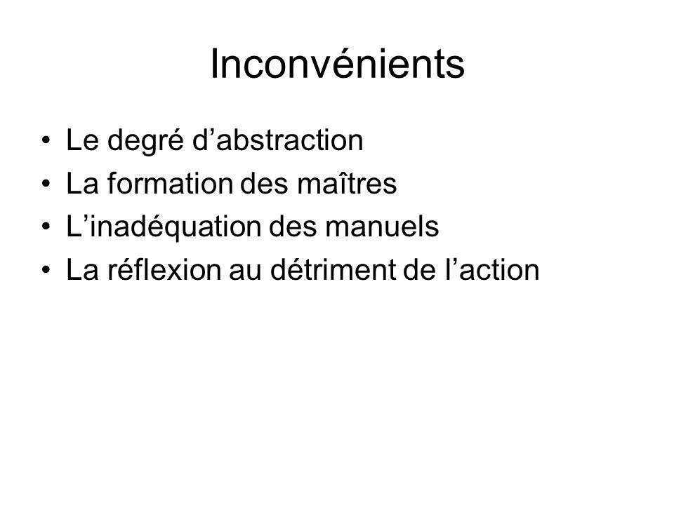 Inconvénients Le degré d'abstraction La formation des maîtres L'inadéquation des manuels La réflexion au détriment de l'action