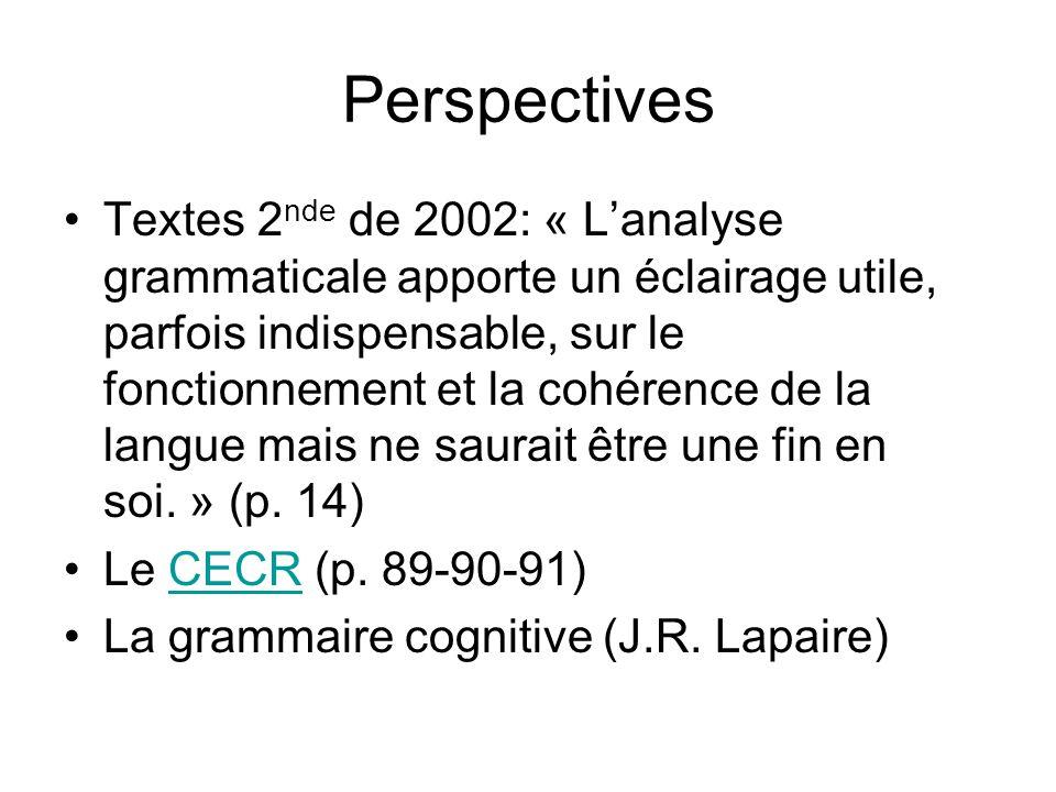 Perspectives Textes 2 nde de 2002: « L'analyse grammaticale apporte un éclairage utile, parfois indispensable, sur le fonctionnement et la cohérence de la langue mais ne saurait être une fin en soi.