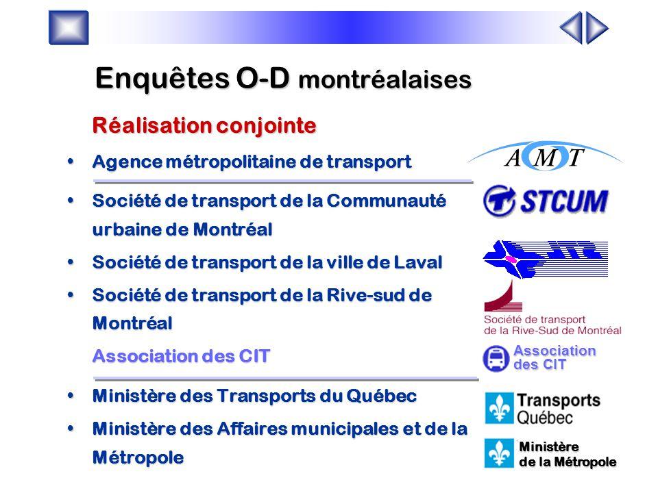 Faits saillants révélés par l'enquête origine-destination de 1998 Daniel Bergeron Agence métropolitaine de transport Jocelyn Grondines Société de tran