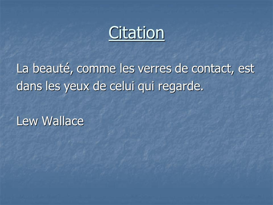 Citation La beauté, comme les verres de contact, est dans les yeux de celui qui regarde. Lew Wallace