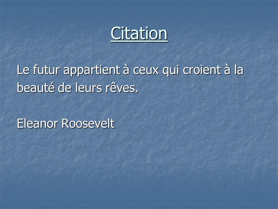 Citation Le futur appartient à ceux qui croient à la beauté de leurs rêves. Eleanor Roosevelt
