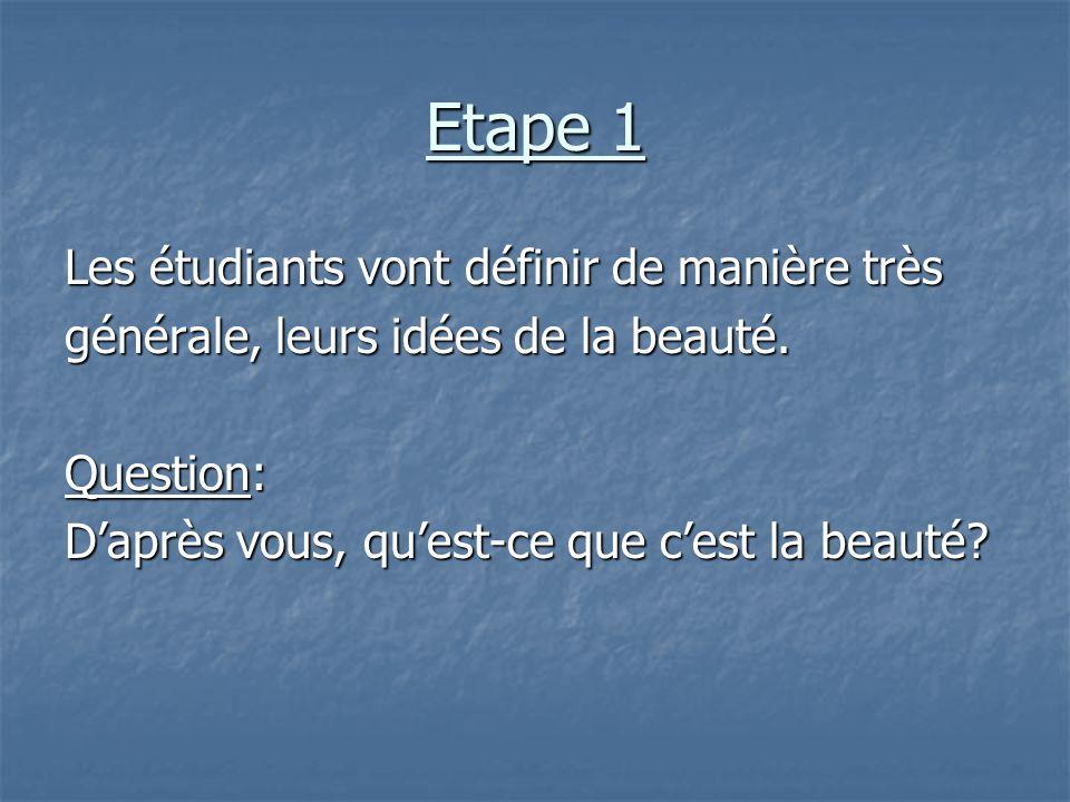 Etape 1 Les étudiants vont définir de manière très générale, leurs idées de la beauté. Question: D'après vous, qu'est-ce que c'est la beauté?