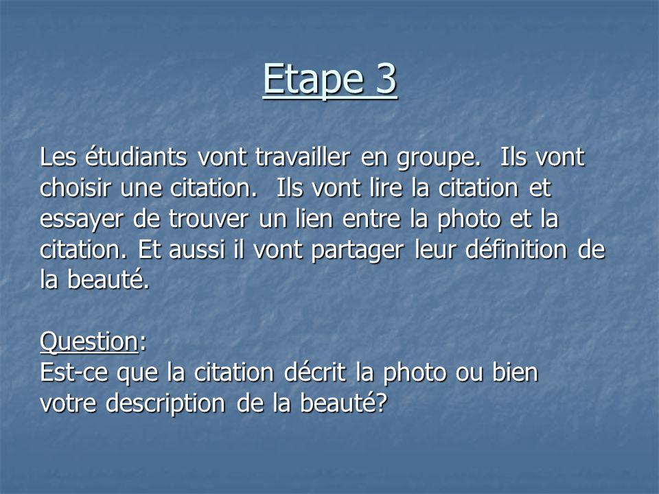 Etape 3 Les étudiants vont travailler en groupe. Ils vont choisir une citation. Ils vont lire la citation et essayer de trouver un lien entre la photo