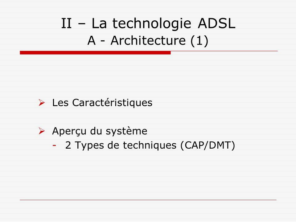 II – La technologie ADSL A - Architecture (1)  Les Caractéristiques  Aperçu du système -2 Types de techniques (CAP/DMT)