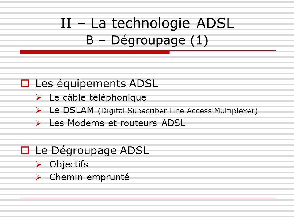 II – La technologie ADSL B – Dégroupage (1)  Les équipements ADSL  Le câble téléphonique  Le DSLAM (Digital Subscriber Line Access Multiplexer)  L