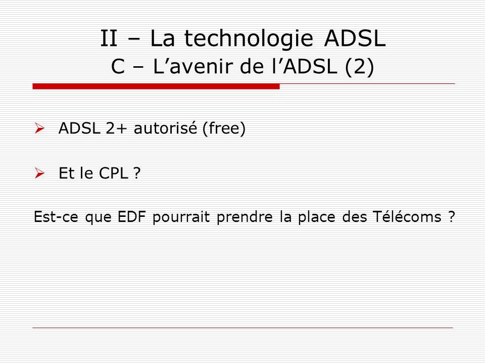 II – La technologie ADSL C – L'avenir de l'ADSL (2)  ADSL 2+ autorisé (free)  Et le CPL ? Est-ce que EDF pourrait prendre la place des Télécoms ?