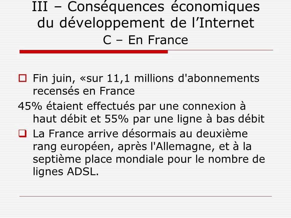 III – Conséquences économiques du développement de l'Internet C – En France  Fin juin, «sur 11,1 millions d'abonnements recensés en France 45% étaien