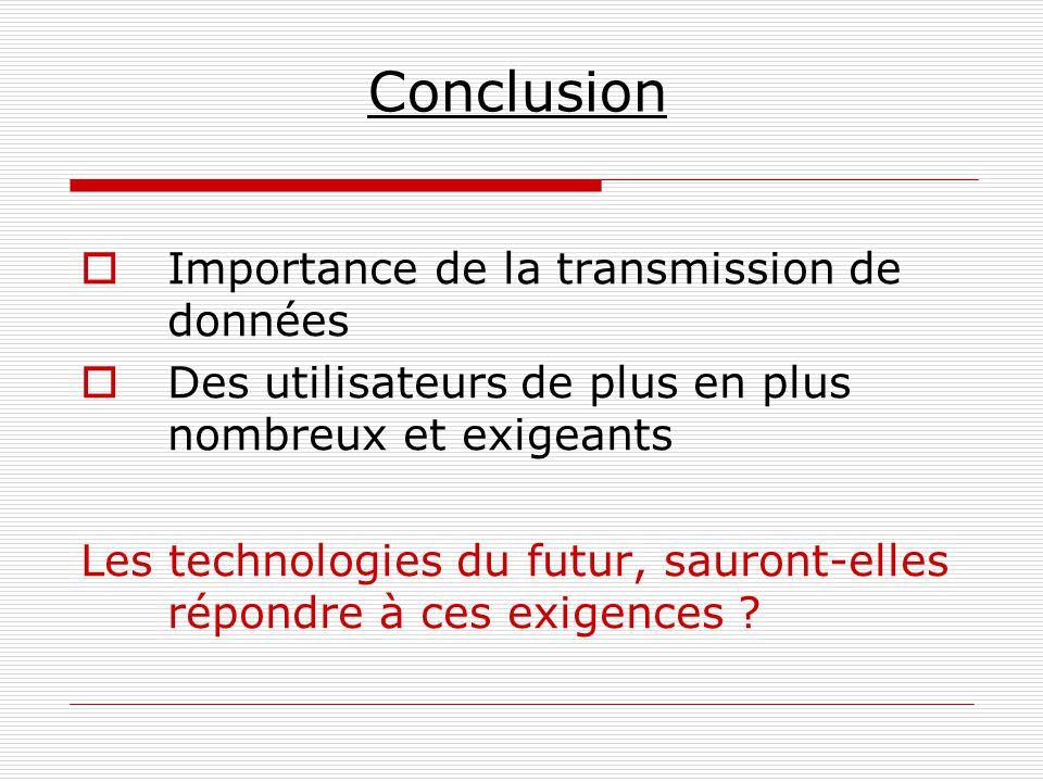 Conclusion  Importance de la transmission de données  Des utilisateurs de plus en plus nombreux et exigeants Les technologies du futur, sauront-elle