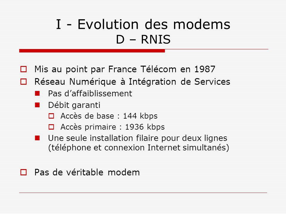 I - Evolution des modems D – RNIS  Mis au point par France Télécom en 1987  Réseau Numérique à Intégration de Services Pas d'affaiblissement Débit g