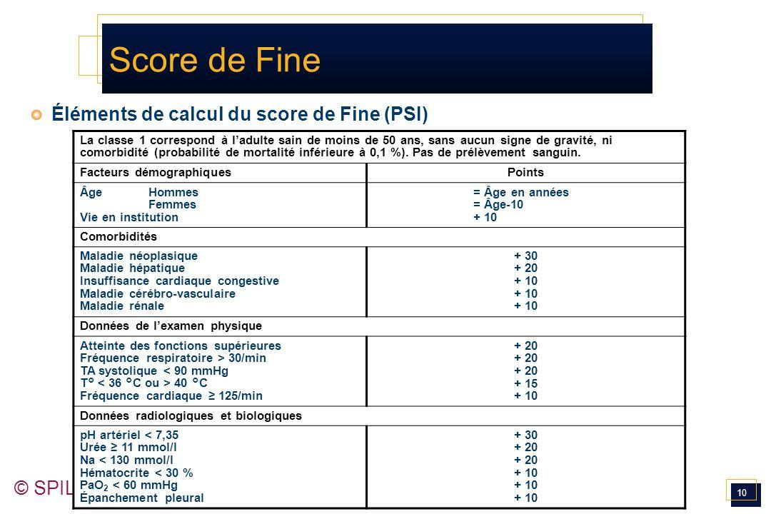 10 © SPILF 2006 Score de Fine Éléments de calcul du score de Fine (PSI) La classe 1 correspond à l'adulte sain de moins de 50 ans, sans aucun signe de