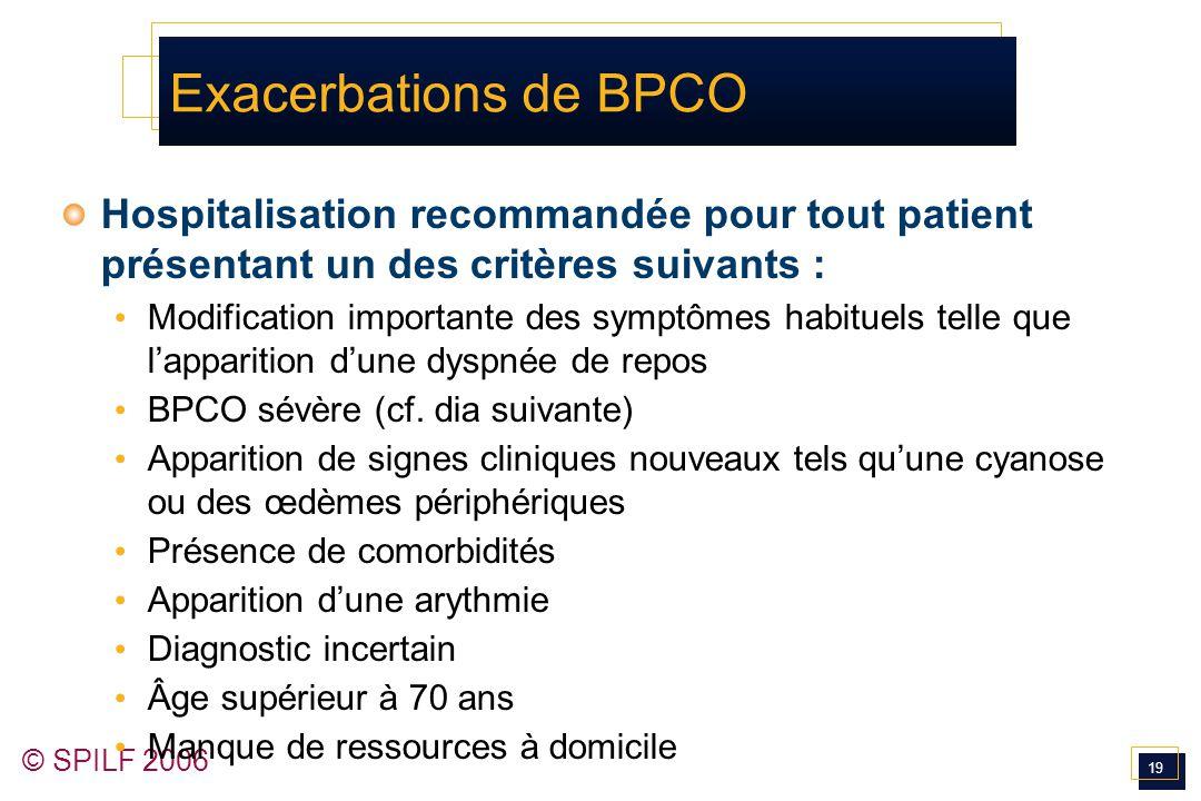 19 © SPILF 2006 Exacerbations de BPCO Hospitalisation recommandée pour tout patient présentant un des critères suivants : Modification importante des