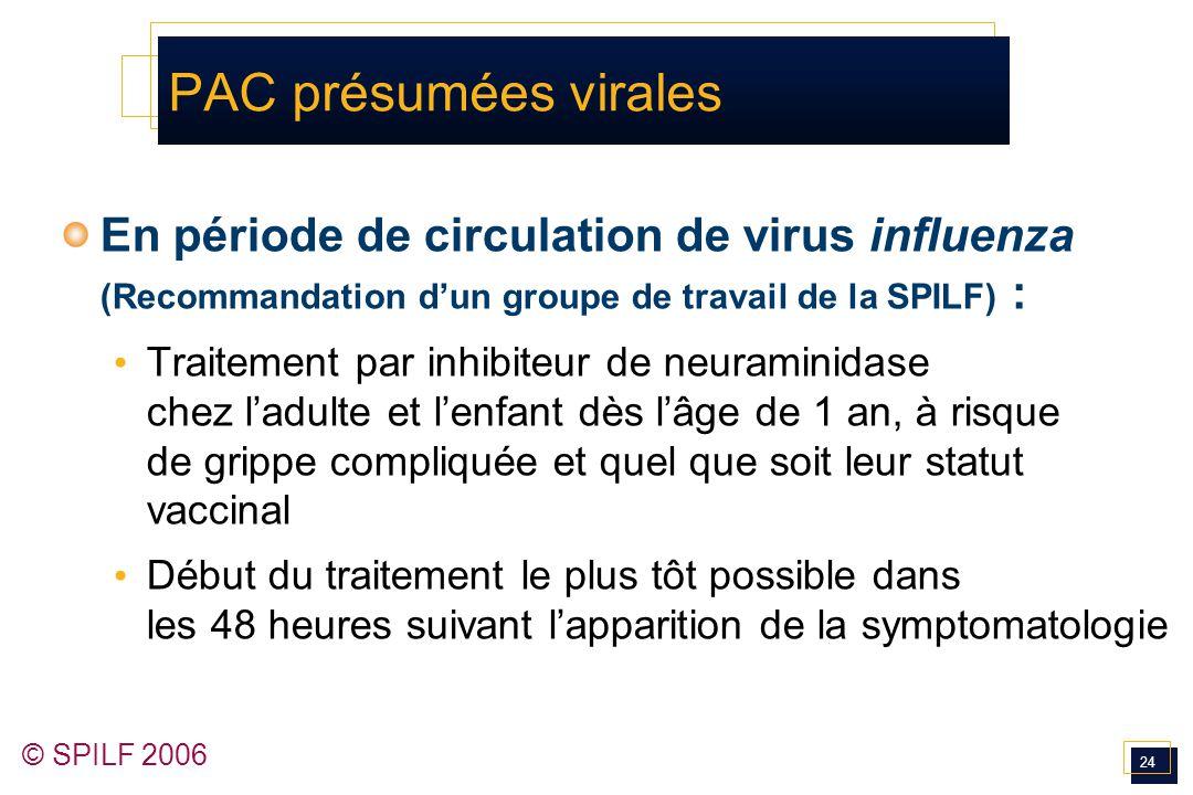 24 © SPILF 2006 PAC présumées virales En période de circulation de virus influenza (Recommandation d'un groupe de travail de la SPILF) : Traitement pa