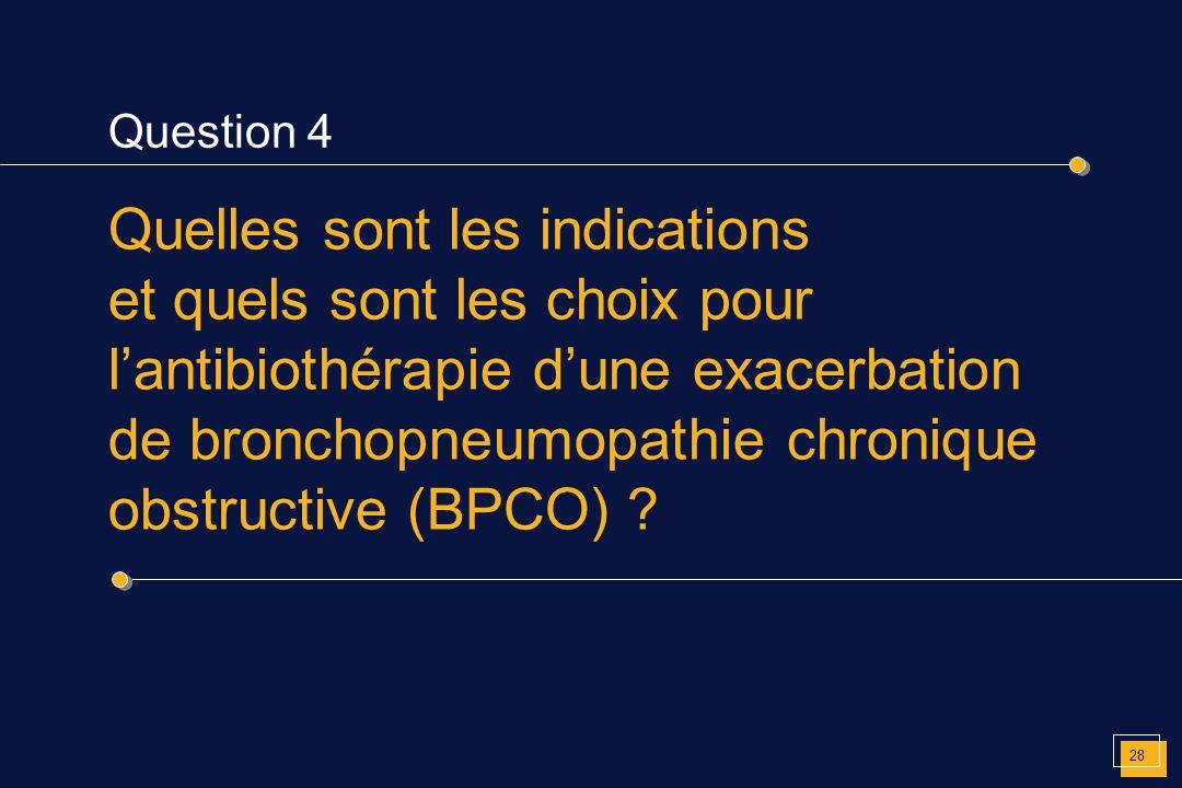 Question 4 Quelles sont les indications et quels sont les choix pour l'antibiothérapie d'une exacerbation de bronchopneumopathie chronique obstructive