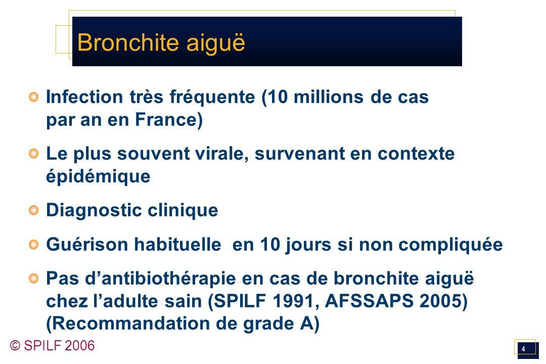 4 Bronchite aiguë Infection très fréquente (10 millions de cas par an en France) Le plus souvent virale, survenant en contexte épidémique Diagnostic c