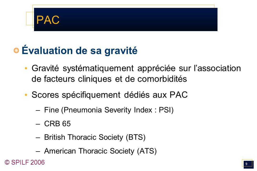 9 © SPILF 2006 PAC Évaluation de sa gravité Gravité systématiquement appréciée sur l'association de facteurs cliniques et de comorbidités Scores spéci