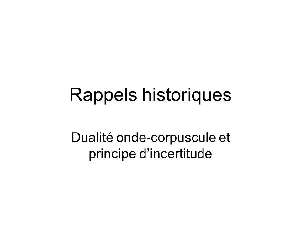 Rappels historiques Dualité onde-corpuscule et principe d'incertitude