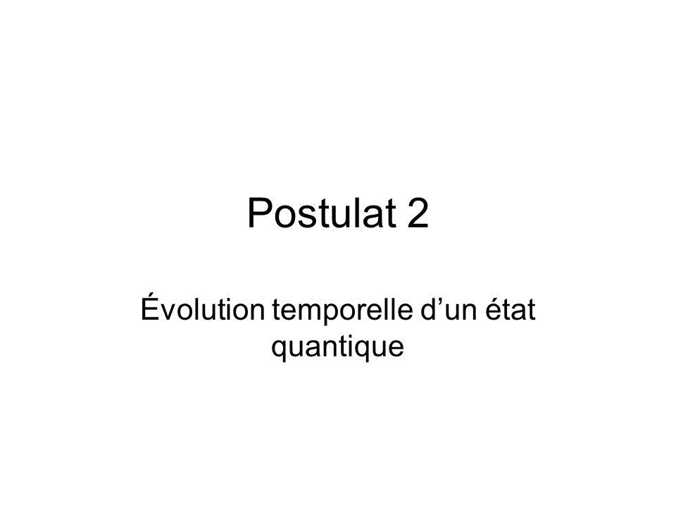 Postulat 2 Évolution temporelle d'un état quantique