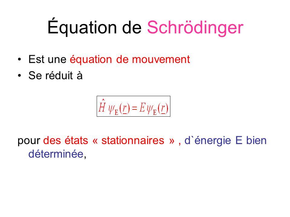 Équation de Schrödinger Est une équation de mouvement Se réduit à pour des états « stationnaires », d`énergie E bien déterminée,