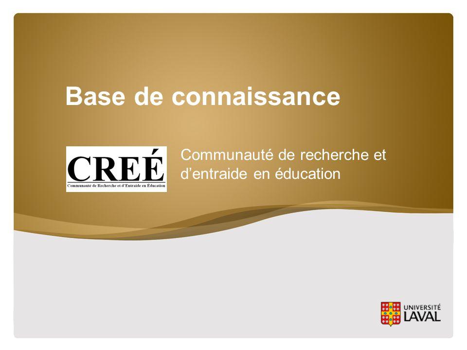 Base de connaissance Communauté de recherche et d'entraide en éducation