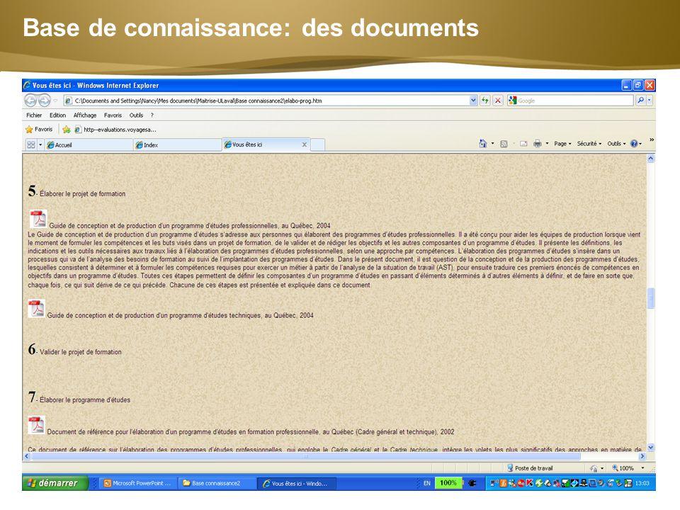 Page  10 Base de connaissance: des documents