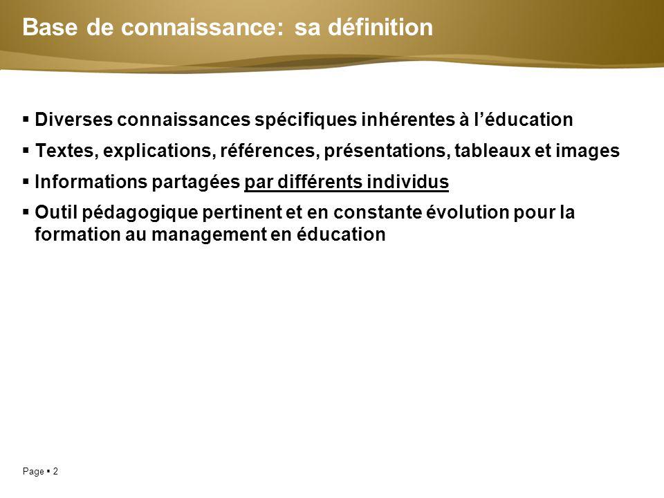 Page  2  Diverses connaissances spécifiques inhérentes à l'éducation  Textes, explications, références, présentations, tableaux et images  Informa