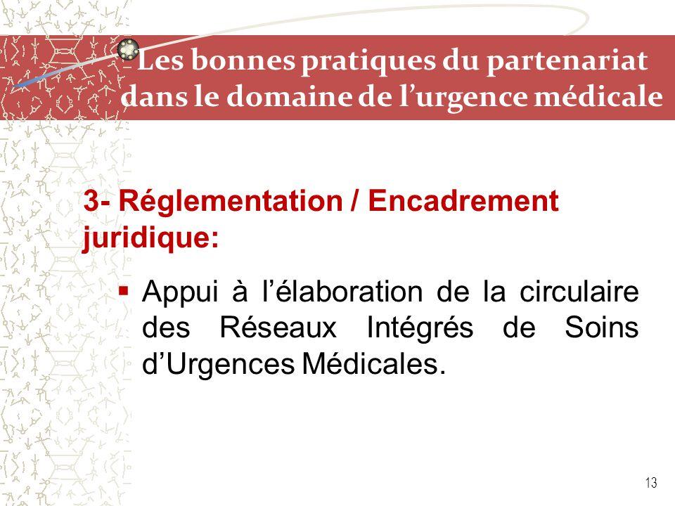 Les bonnes pratiques du partenariat dans le domaine de l'urgence médicale 3- Réglementation / Encadrement juridique:  Appui à l'élaboration de la cir