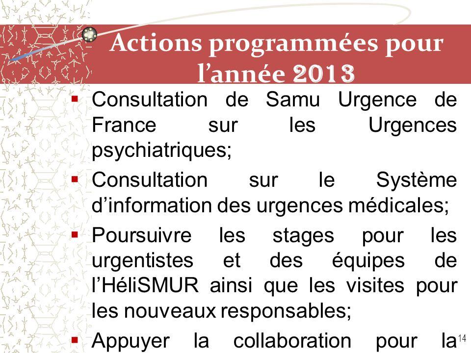 Actions programmées pour l'année 2013  Consultation de Samu Urgence de France sur les Urgences psychiatriques;  Consultation sur le Système d'inform