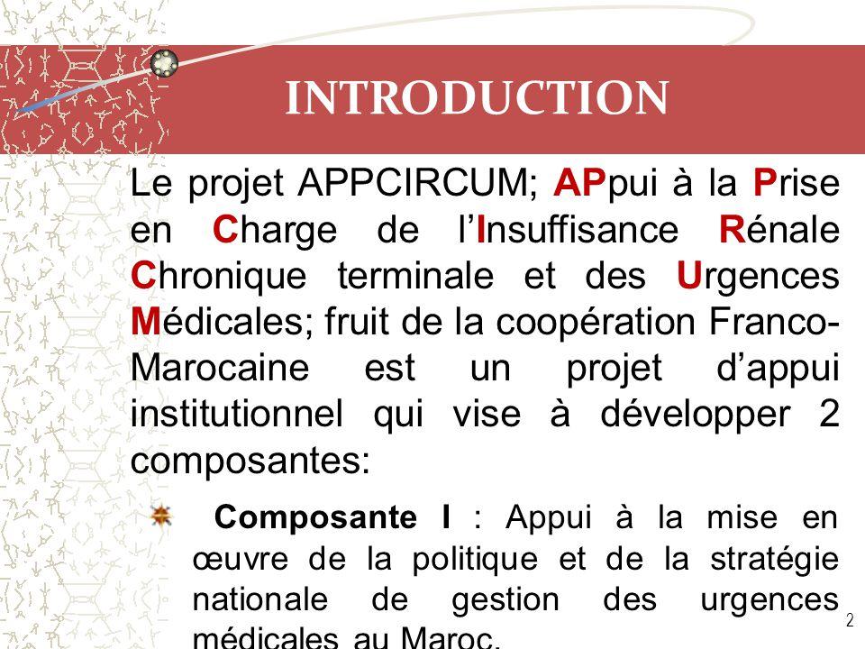 INTRODUCTION Le projet APPCIRCUM s'étale sur une durée de quatre ans avec un montant de 2,5 millions d'€ pour les 2 composantes.