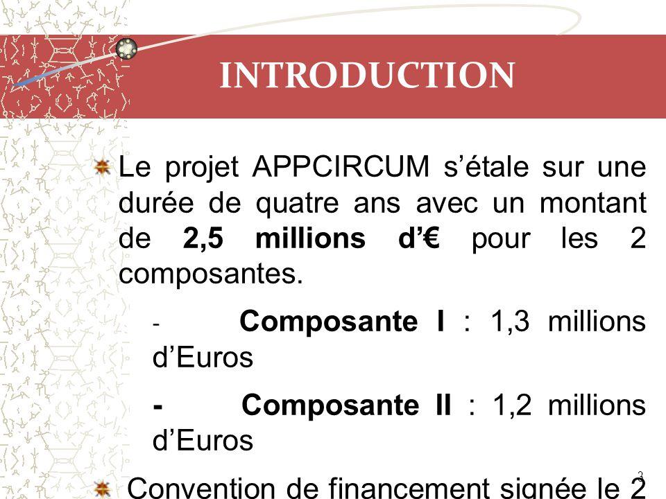 INTRODUCTION Le projet APPCIRCUM s'étale sur une durée de quatre ans avec un montant de 2,5 millions d'€ pour les 2 composantes. - Composante I : 1,3
