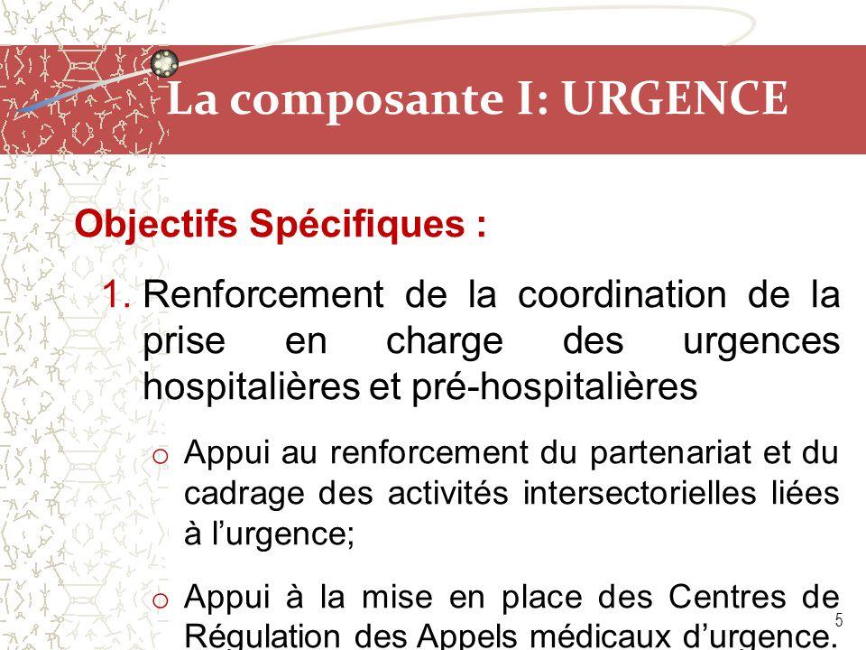 La composante I: URGENCE Objectifs Spécifiques : 1.Renforcement de la coordination de la prise en charge des urgences hospitalières et pré-hospitalièr