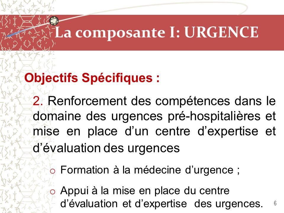 La composante I: URGENCE Objectifs Spécifiques : 2. Renforcement des compétences dans le domaine des urgences pré-hospitalières et mise en place d'un